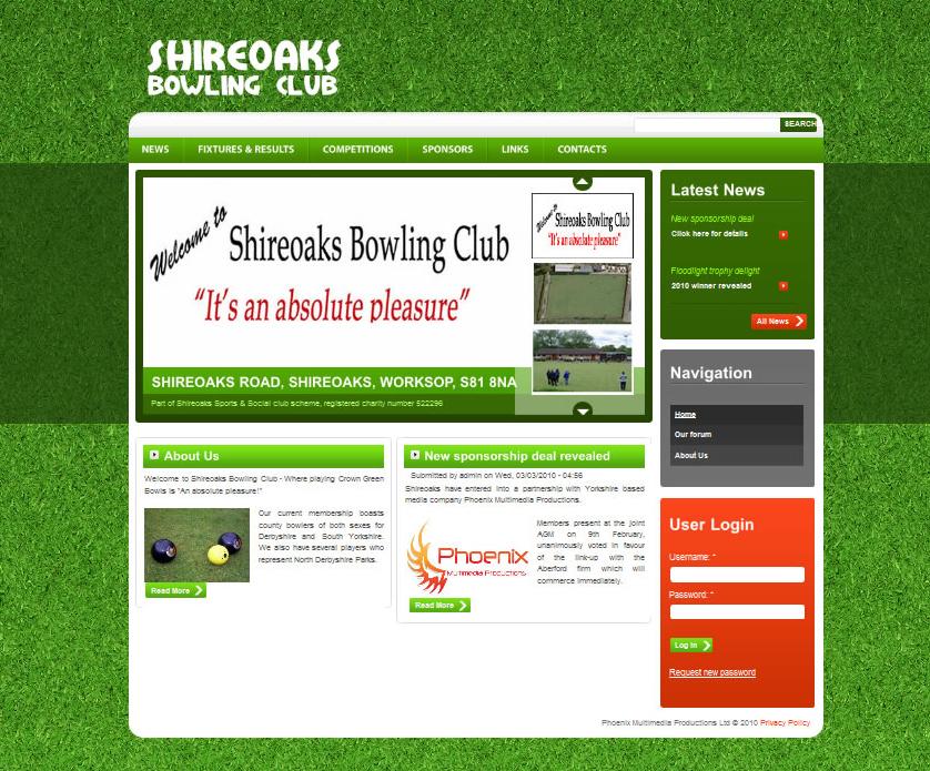 shireoaksbowlingclub  Web Design shireoaksbowlingclub